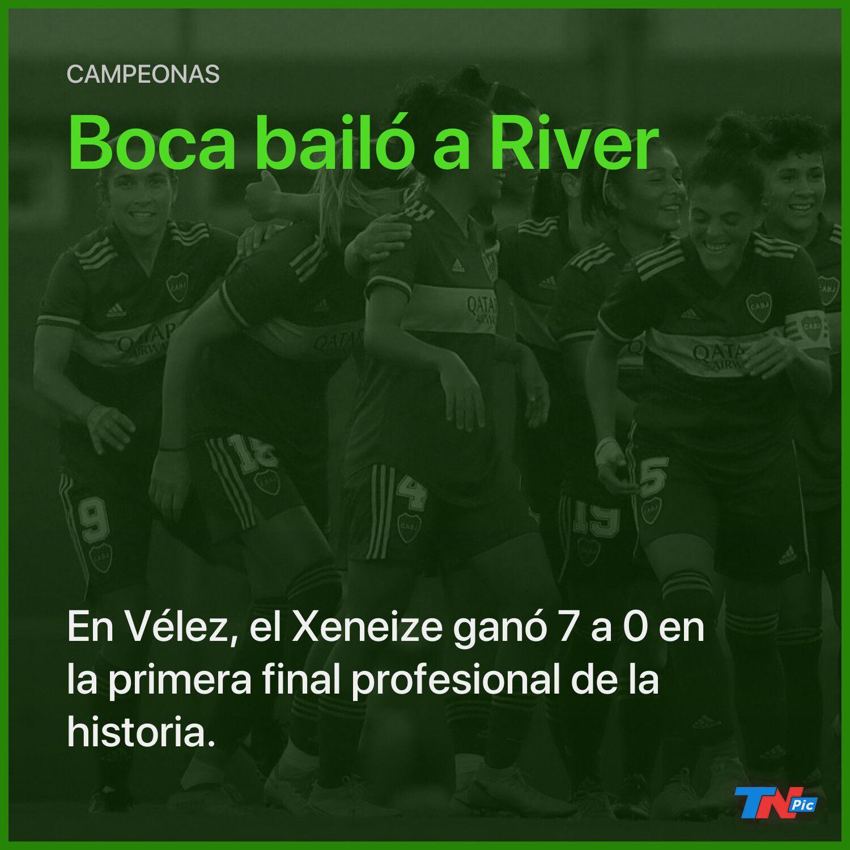 Las chicas de Boca salieron campeonas tras ganarle 7 a 0 a River en la primera final profesional de la historia